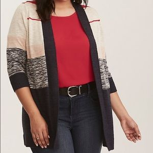 torrid Sweaters - Torrid Colorblock Stripe Open Cardigan 2X